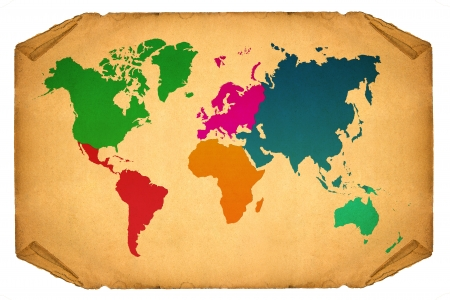 World Map, World background on grunge paper photo