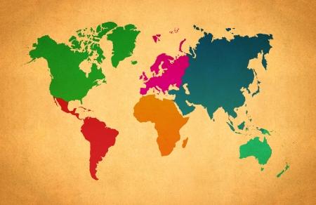 World Map, World background on grunge paper photo