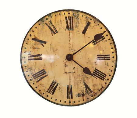 vespers: Old Clock Isolated on white background, Vintage clock