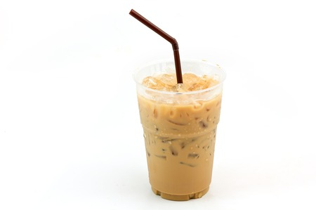 straw: Iced coffee with straw in plastic cup isolated on white background