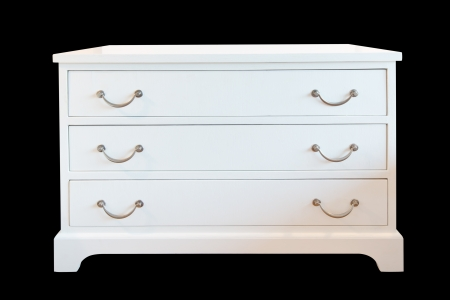 White wooden chest of drawers isolated, with clipping path