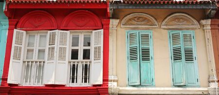 Facade of the building in Little India, Singapore photo