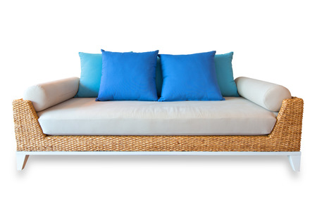 outdoor furniture: Rattan sofa  isolated, with clipping path