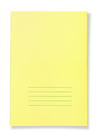 Yellow notebook isolated on white background photo