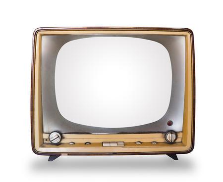 白い背景で隔離の木製ケースとレトロなテレビ