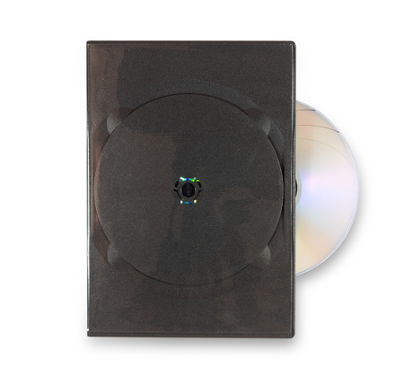 DVD case with DVD on white with clipping path photo