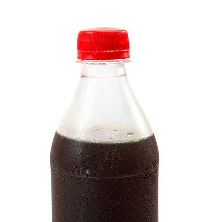 Plastic bottle with cola on a white background photo