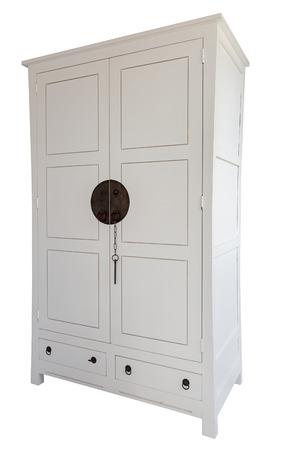arredamento classico: white wooden dresser classic over white background