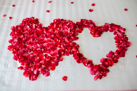red bed: Honeymoon, Wedding bed topped with rose petals