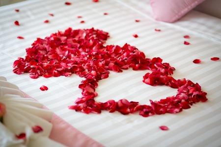 新婚旅行、結婚式のベッドのバラの花びらをトッピング
