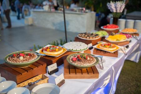 line lines luxury meeting: thai dessert on buffet line Stock Photo