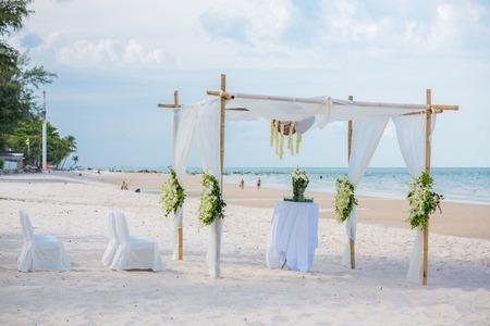 venue: Wedding setting on the beach. Stock Photo