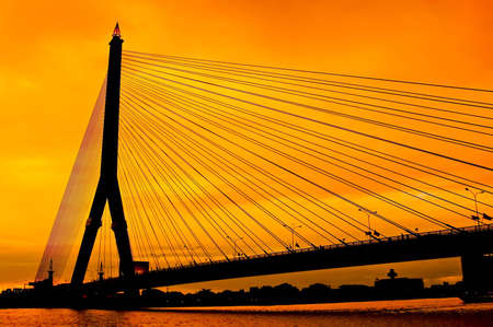 Rama 8 bridge of Thailand in rare orange twilight Stock Photo