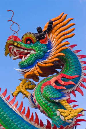 Colorful dragon on blue sky photo