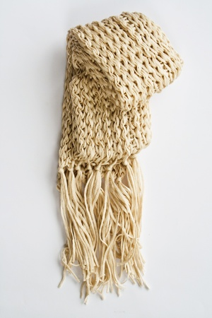 Wool cream scarf