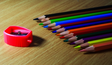 Color pencils on table it s isolate  Stock Photo - 15682435