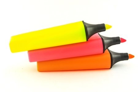 Highlighter pen on a white background Highlighter pen Thailand photo