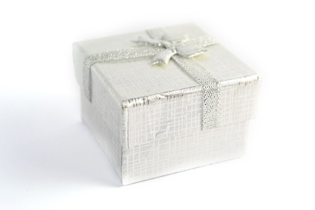 Close up gray gift box  Gift box photo