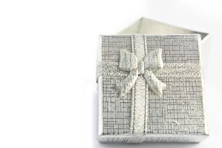 Close up gray gift box  Gift box photo