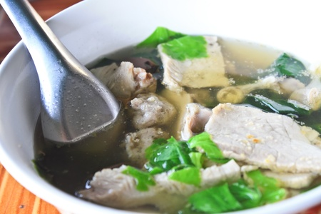 Pork soup with pork and vegetables is ingredients