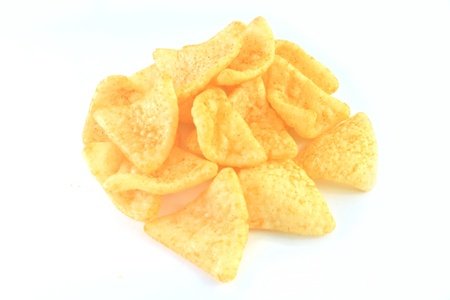 Potato chips on white background  photo