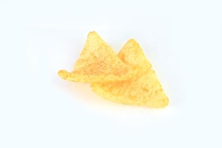 grasas saturadas: Papas fritas en el fondo blanco Foto de archivo