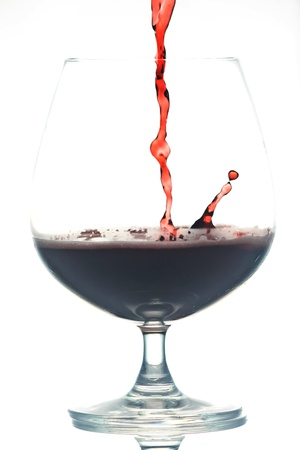 Red Wine in glass on white background  Red wine  photo