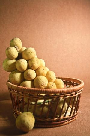 Gong: Long gong in basket  Long Gong fruits