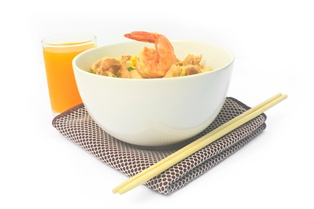 Pan fried noodles with shrimp and pork  photo
