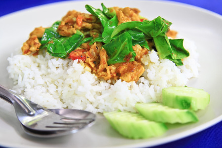 Thai Curry on steamed rice.