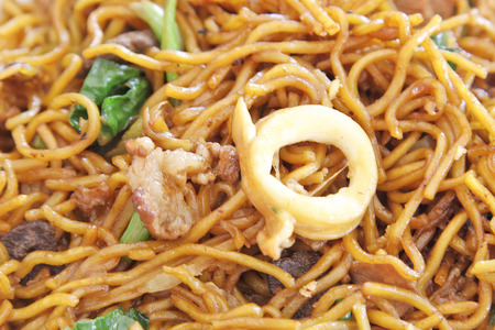 mee pok: chinese stir fried noodles.