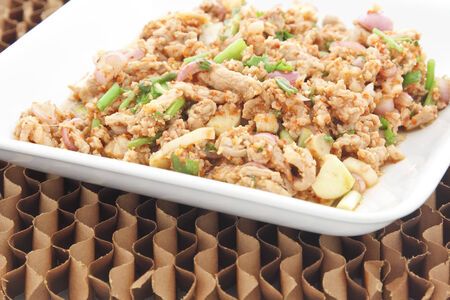 meat food: Thai Spicy minced meat food. Stock Photo
