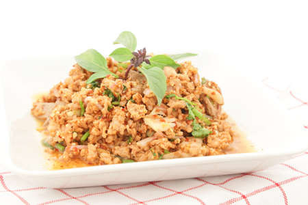 minced: Thai Spicy minced meat salad Stock Photo
