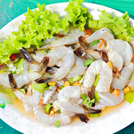 Fresh shrimp and spicy sauce, seafood thailand.