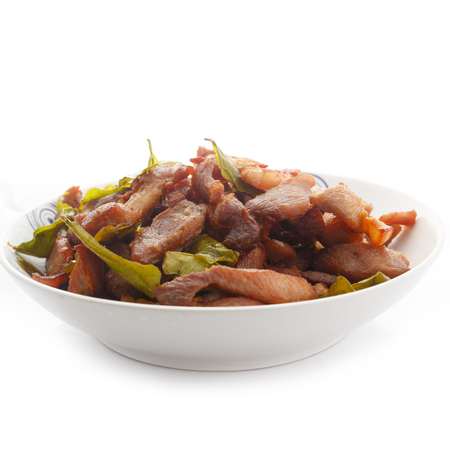 Deep-fried pork isolate on white background.