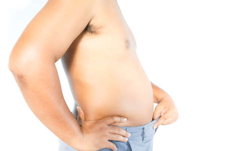 Fat man isolate on white background. Stock Photo