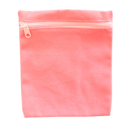 Pink color cotton bag on white background.