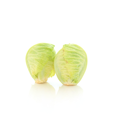 Small green cabbage isolated on white background