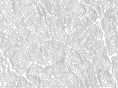 Topographic map with contour line in black and white pattern
