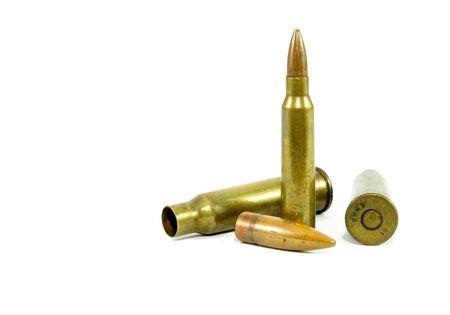 弾薬が使用されました。使用されていません。背景が白 写真素材