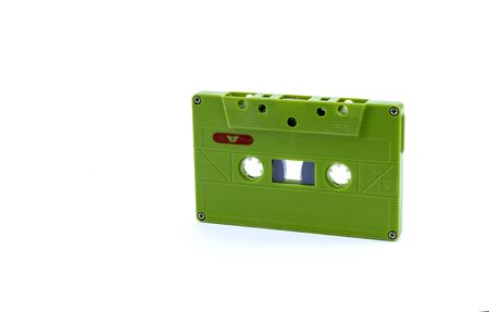 Vintage record player tape. Old audio cassette isolated on a white background. 版權商用圖片