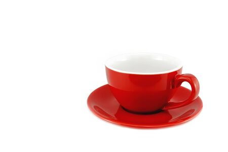 Red cup coffee on a white background, with clipping path Imagens