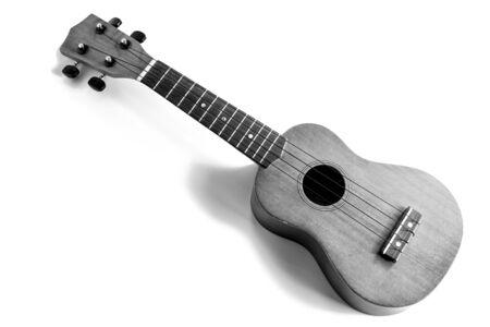 black and white ukulele on the white background 写真素材