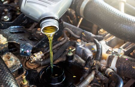 Change the Engine oil car, selective focus to oil
