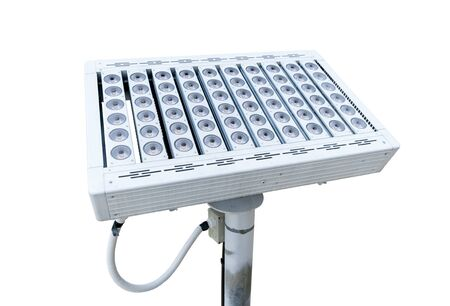 LED panel of LED lamp, Power supply with stand on isolated white background