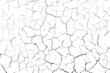 Las grietas textura blanco y negro agrietado, fondo blanco, para diseño y publicidad.