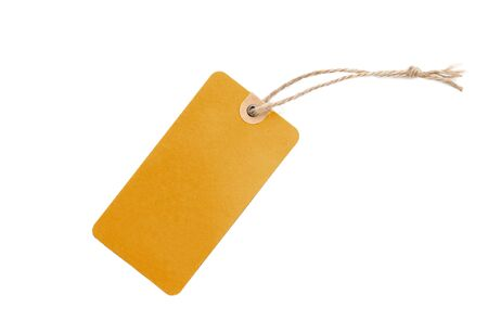 Blank brown cardboard Price tag or label isolated on a white background, File contains with clipping path.