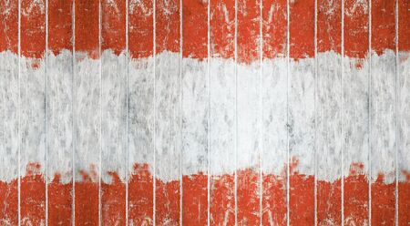 Wood board. Vintage orange and white color painted wood wall as background or texture, Natural pattern. Blank copy space.