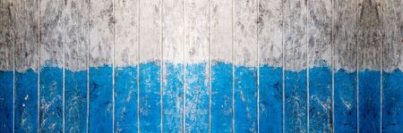 Wood board Blue and white color painted wood wall as background or texture, Natural pattern. Blank copy space.