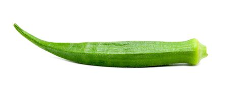 Green fresh okra isolated on white background. File contains with clipping path.